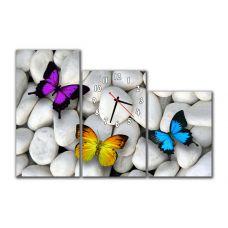 Модульные настенные часы Бабочки на камне, 90х60 см