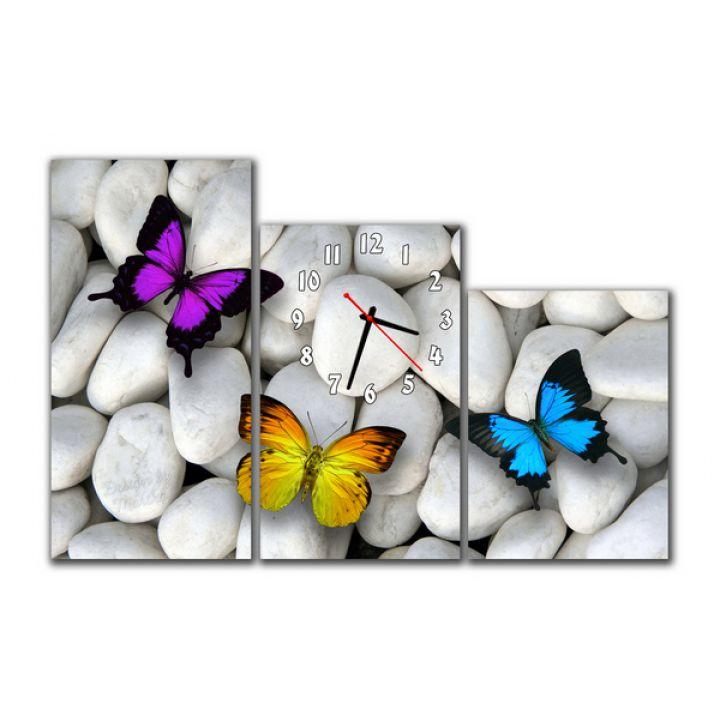 Модульний настінний годинник Метелики на камені, 90х60 см