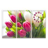 Модульний настінний годинник Ніжні Тюльпани