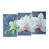 Модульные настенные часы Цветки орхидеи
