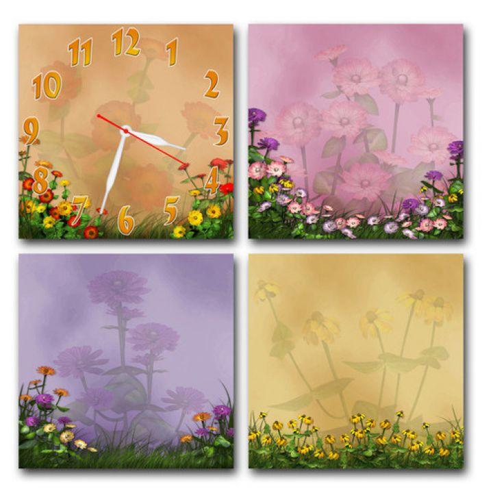 Модульные настенные часы Пленительные Цветы, 60х60 см