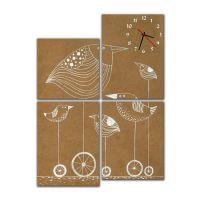 Модульные настенные часы Птицы