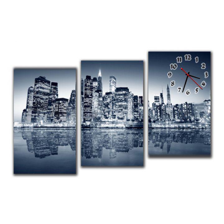 Модульные настенные часы Ночной Город