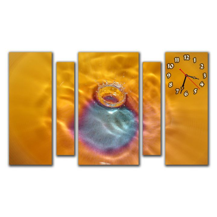 Модульные настенные часы Янтарный Всплеск