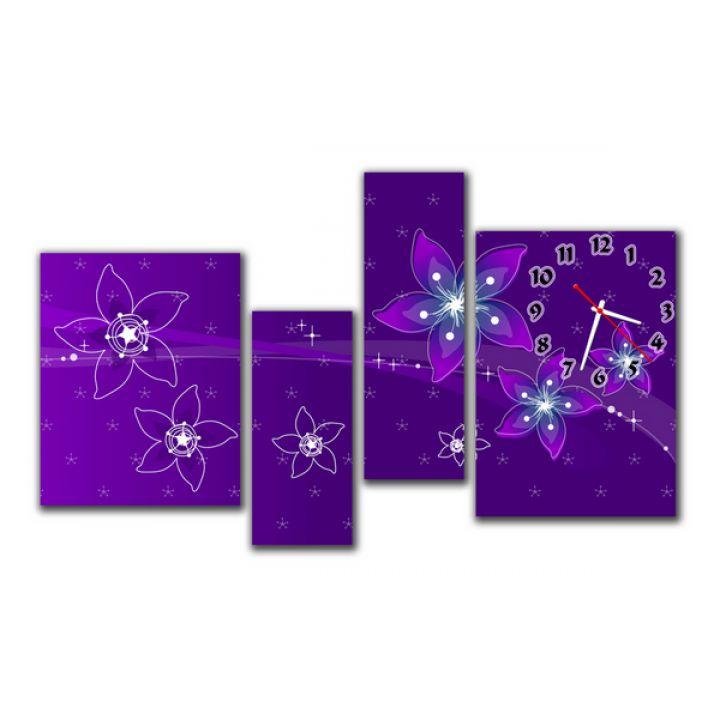Модульные настенные часы Волшебные Цветы