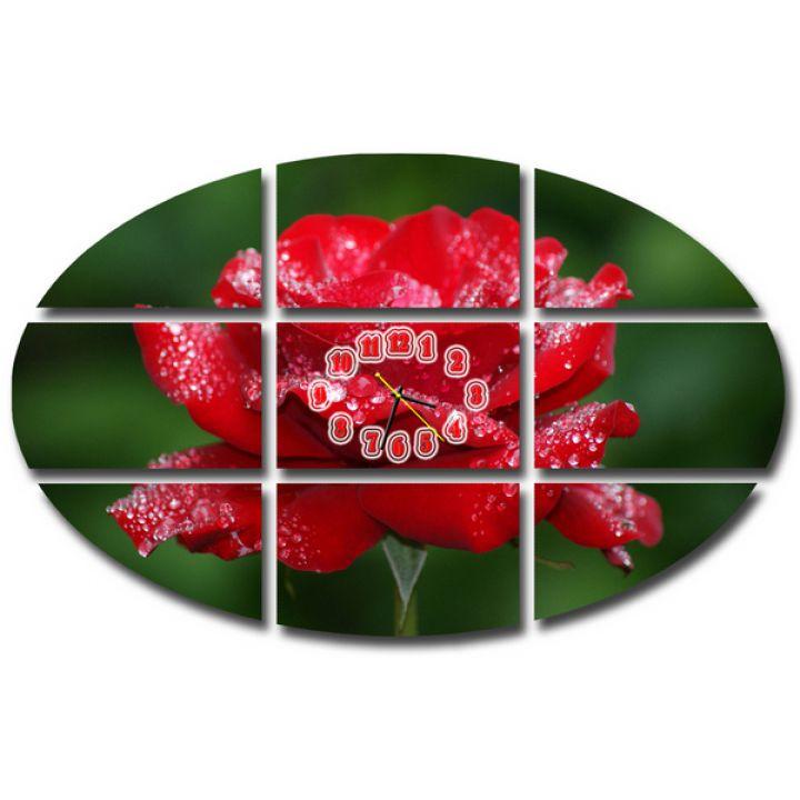 Модульные настенные часы Красная Роза