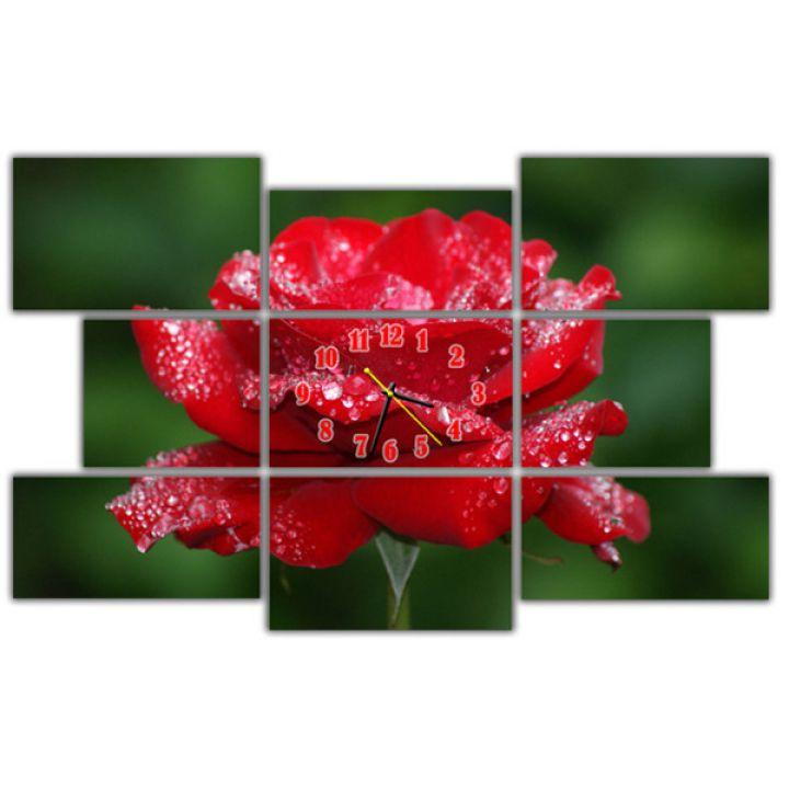 Модульний настінний годинник Червона Троянда