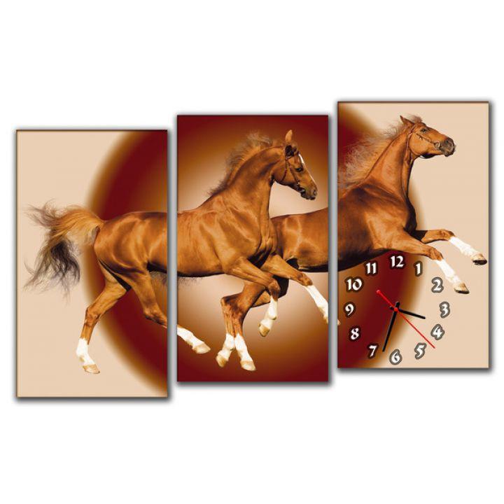 Модульные настенные часы Лошади