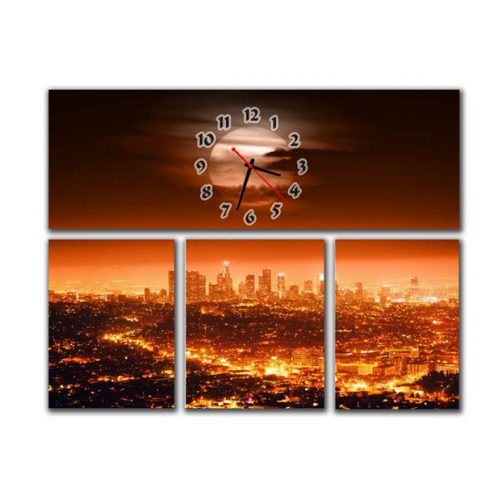 Модульний настінний годинник Вечірній Мегаполіс