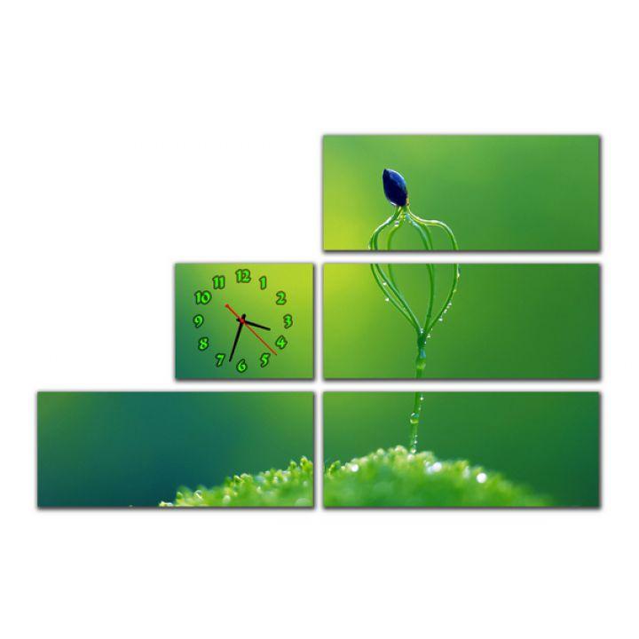 Модульные настенные часы Манящая Зелень