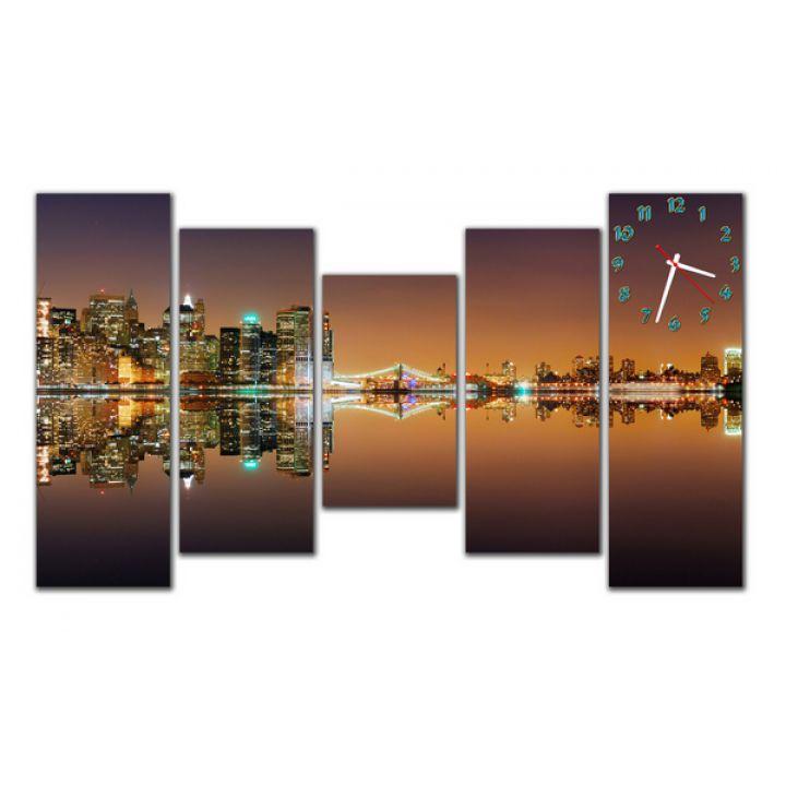 Модульний настінний годинник Вечірнє Містечко