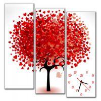 Модульний настінний годинник Дерево Кохання