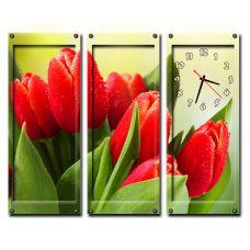 Модульные настенные часы Алые Тюльпаны