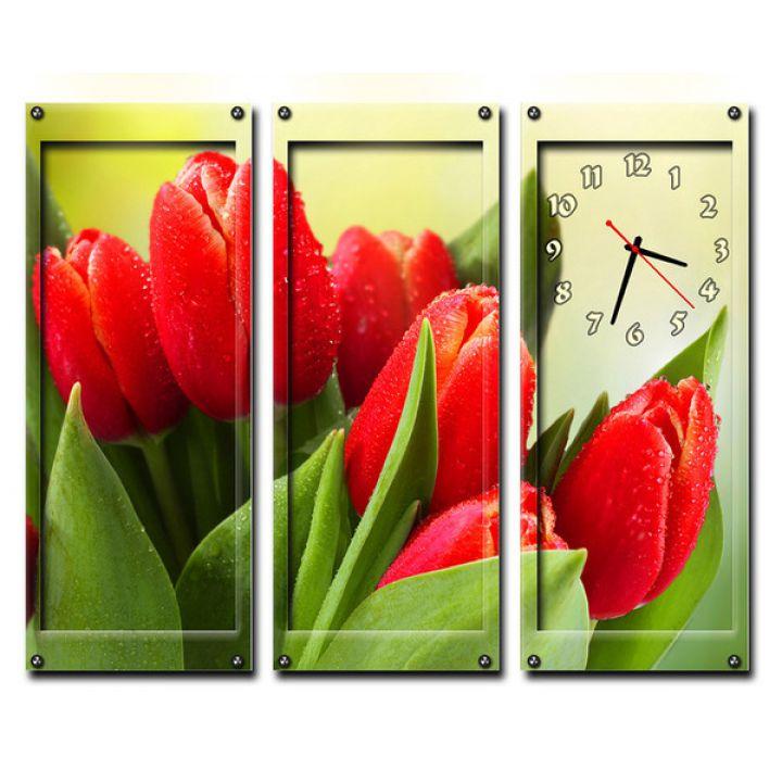 Модульний настінний годинник Червоні Тюльпани