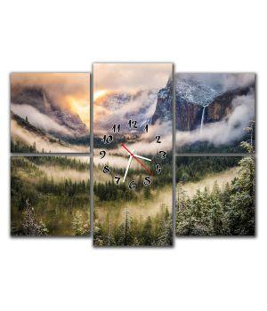 Модульные настенные часы Горный пейзаж