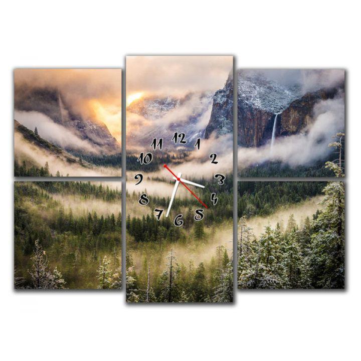 Модульний настінний годинник Гірський пейзаж