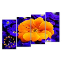 Модульные настенные часы Оранжевый цветок