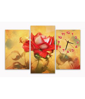 Модульные настенные часы Живописная роза