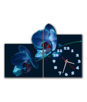 Модульные настенные часы Синие орхидеи