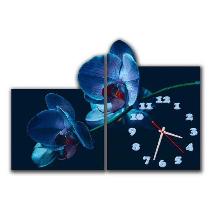 Модульные часы Синие орхидеи