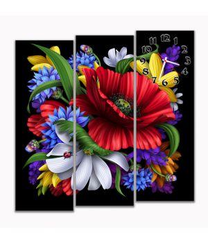 Модульные настенные часы Яркие цветы