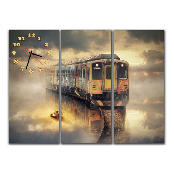 Модульные настенные часы Поезд в тумане