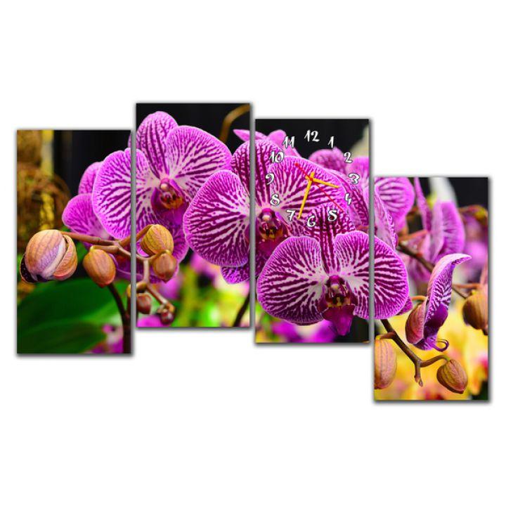 Модульные настенные часы Фиолетовые орхидеи