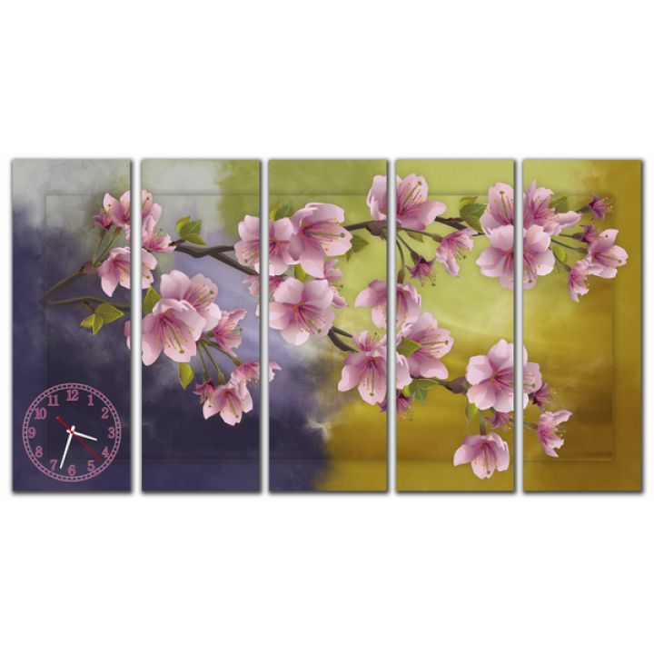 Модульний настінний годинник Весняні квіти