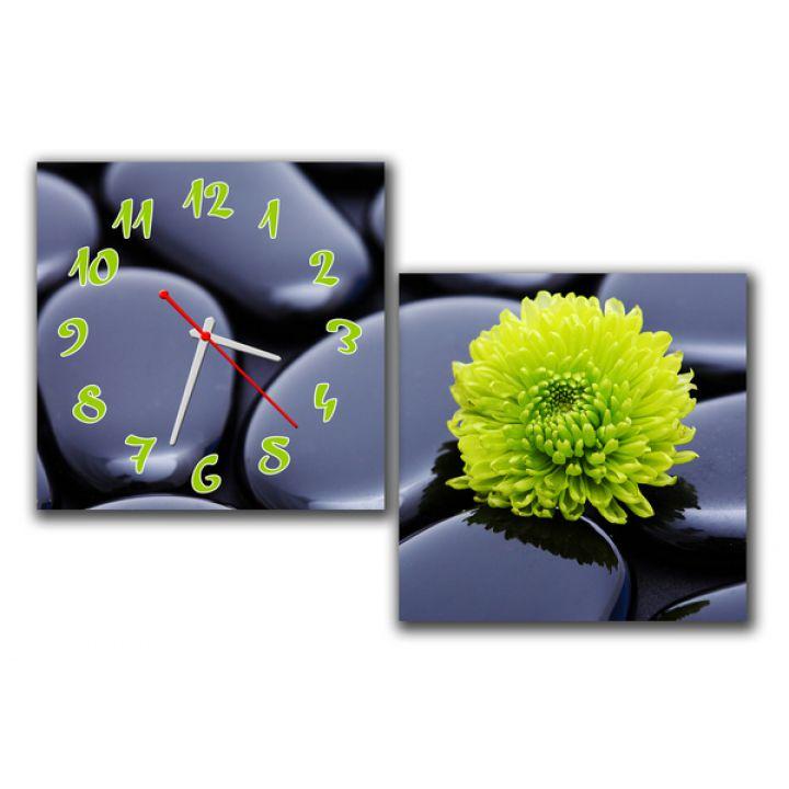 Модульний настінний годинник Квітка на камені