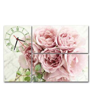 Модульные настенные часы Розовая роза