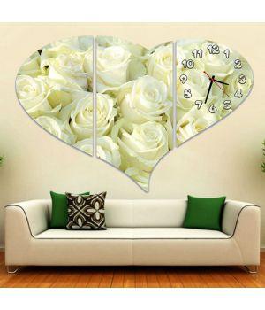Модульные настенные часы Белые розы
