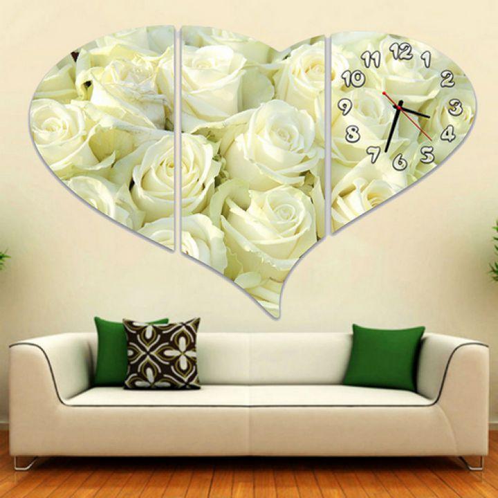 Модульные картины с часами Белые розы