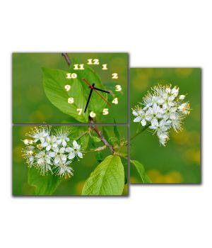Модульные настенные часы Белые цветы