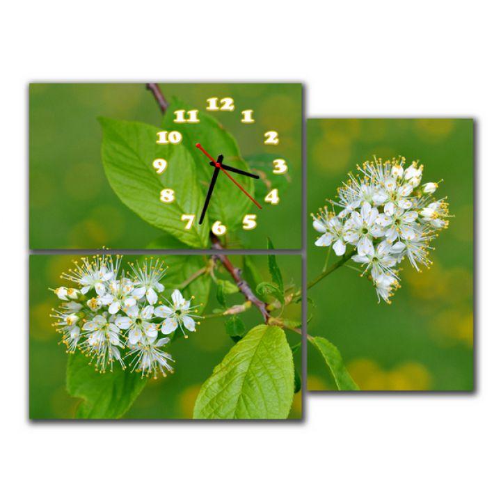 Модульные часы Белые цветы