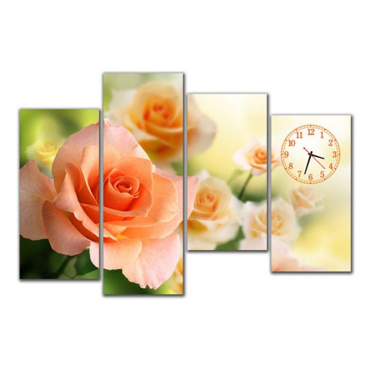 Модульные часы в спальню Неповторимые розы