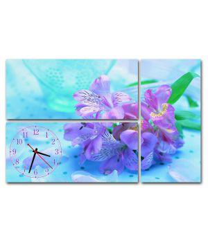 Модульные настенные часы Сиреневые цветы