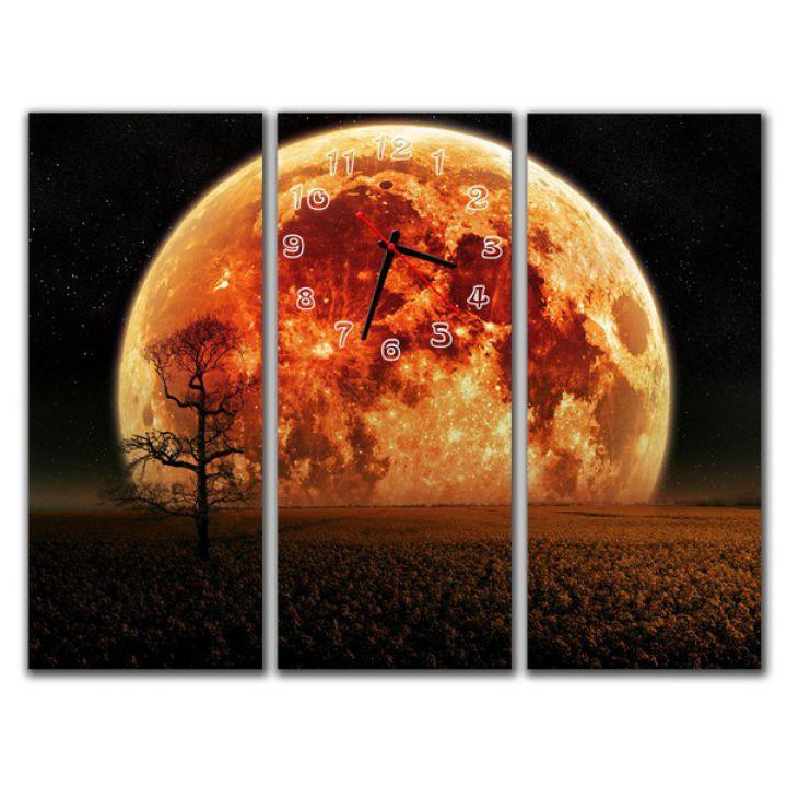 Модульные настенные часы Огненная планета