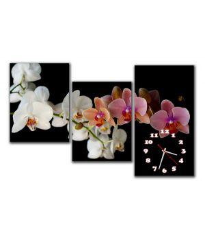 Модульний настінний годинник Ніжні орхідеї