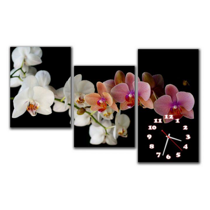 Модульные настенные часы Нежные орхидеи