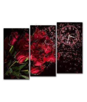 Модульные настенные часы Букет красных роз