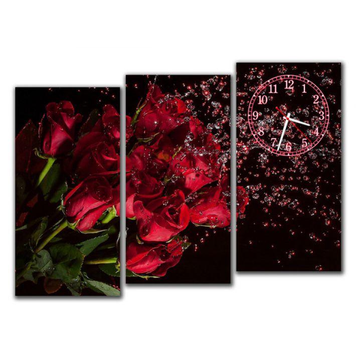 Модульные часы Букет красных роз