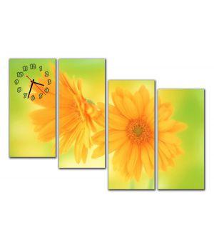 Модульний настінний годинник Сонячні квіти