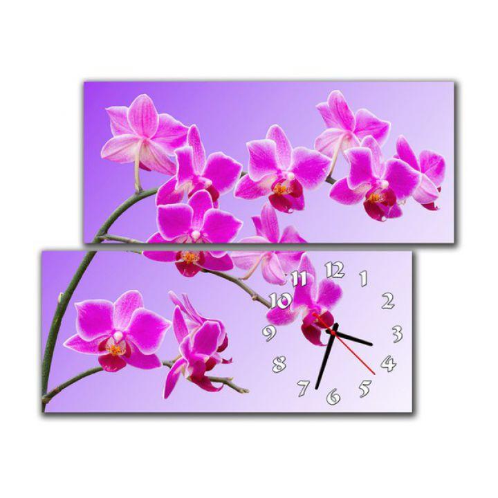 Модульные настенные часы Розовые орхидеи
