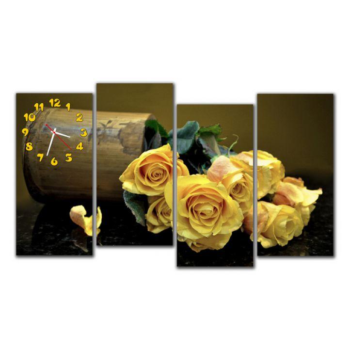 Модульные настенные часы Желтые розы