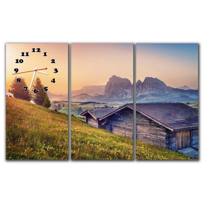 Модульний настінний годинник Гірська панорама