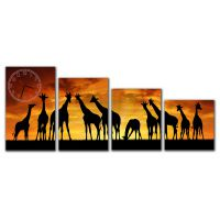 Модульные настенные часы Жирафы