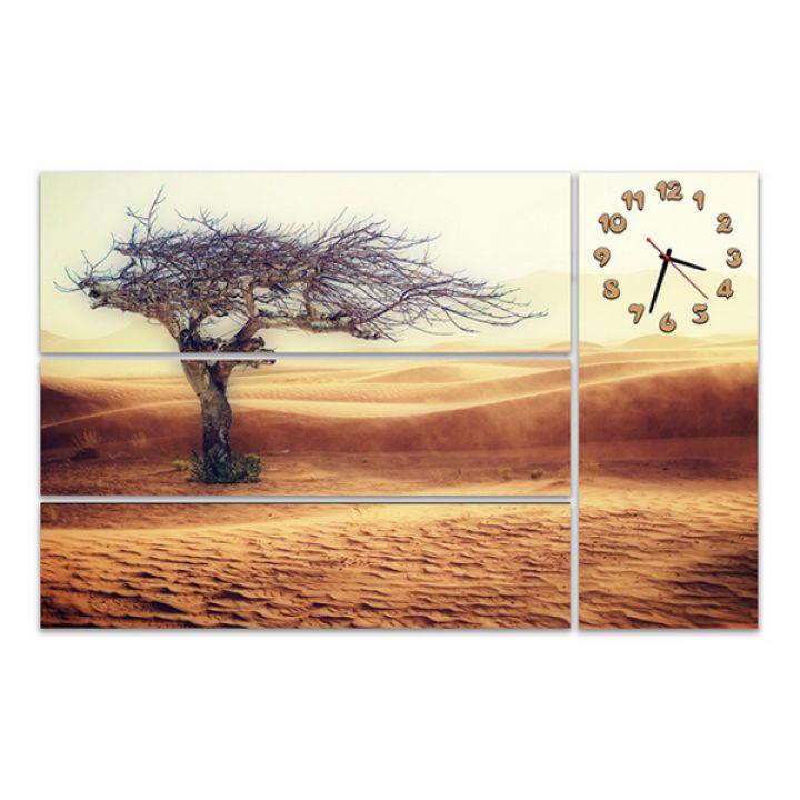 Модульные картины с часами Высохшее дерево