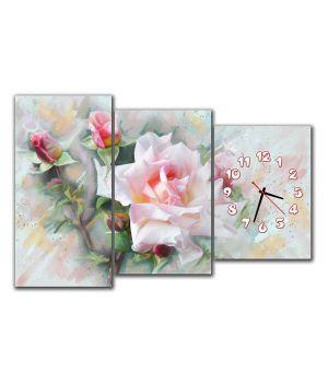 Модульные настенные часы Цветы розы
