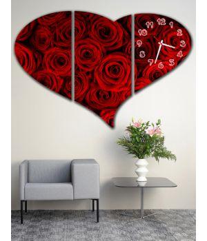 Модульные настенные часы Сердце из Роз