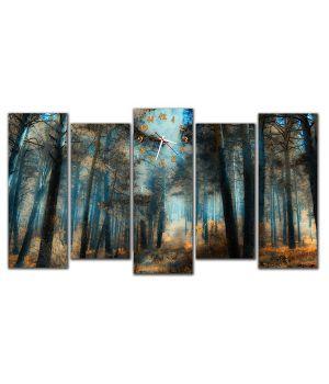 Модульные настенные часы Осенний лес